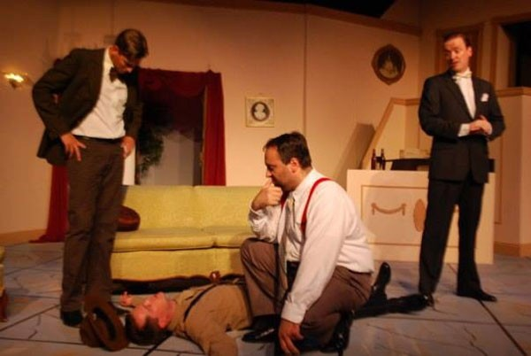 Left to right: Justin Robertsson, Tim Syciarz, Rocky Gettel and Frank Schurer in A Slight Case of Murder, at the Summer Company.