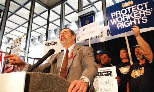 Leo Gerard, president of the United Steelworkers International, addresses the crowd at a union rally Feb. 24. - HEATHER MULL