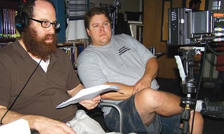 Liebel Cohen (left) and director of photography Doug Stanczak on the set of Agent Emes