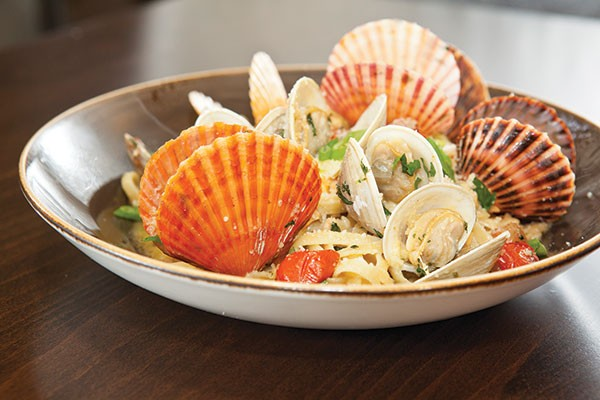 Linguine with Taylor Bay scallops and clams