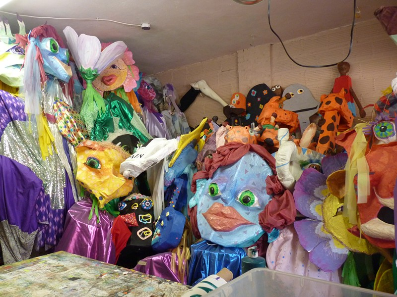 Local artist Cheryl Capezzuti's garage studio is overflowing with First Night parade puppets. - PHOTO BY ASHLEY MURRAY