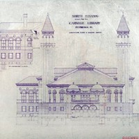 Longfellow, Alden & Harlow Architects' elevation of the Carnegie Library of Pittsburgh (1887-92)