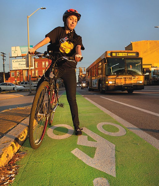 Lucia Aguirre celebrates Best News for Cyclists, new bike lanes on city streets.