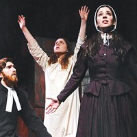 Luke Halferty, Lindsey Sherman (center) and Hillary Vetter in <i>The Crucible</i>, at the Conservatory Theater Company.