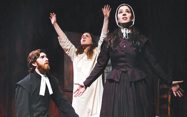 Luke Halferty, Lindsey Sherman (center) and Hillary Vetter in The Crucible, at the Conservatory Theater Company.