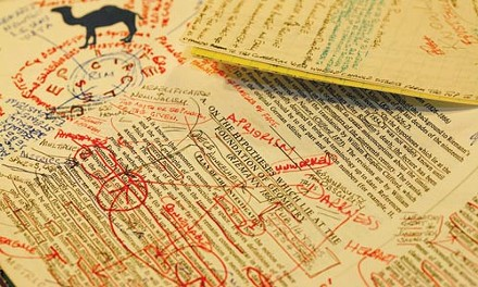 Mano's books are littered with scribbled notes. - HEATHER MULL