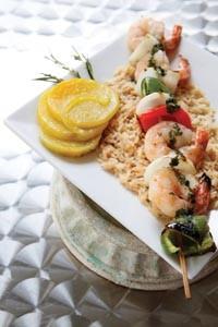 Marinated-shrimp shish kebab with roasted-yellow-beet salad - HEATHER MULL
