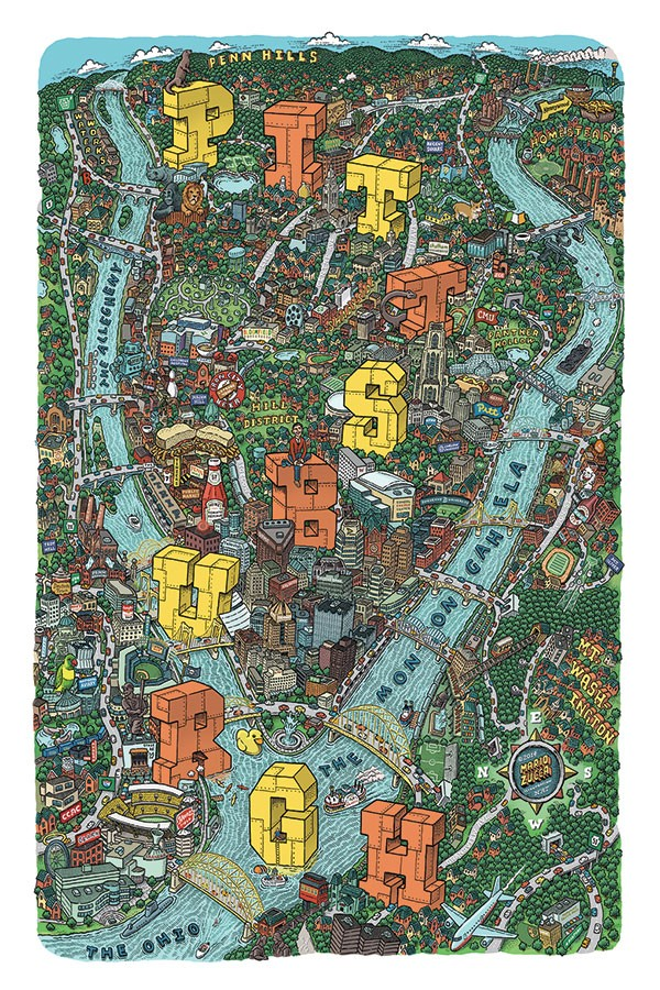 Mario Zucca's Illustrated Map of Pittsburgh