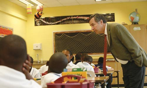 Mark Roosevelt in a classroom while still superintendent - HEATHER MULL