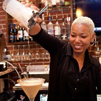 "Matteo's Matteo's bartender Deshelle Taylor and her ""Rumkin"" Martini Photo by Heather Mull"
