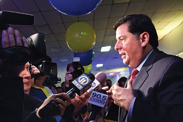 Mayor-elect Bill Peduto speaks with reporters on Election Night.
