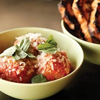 Meatballs and grilled bread