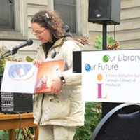 "Megan Fogt ""reads to the people"" at the Carnegie Library, in Oakland."