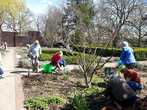Members of the Western Pennsylvania Unit of the National Herb Society work in the demonstration garden in Shadyside in April.