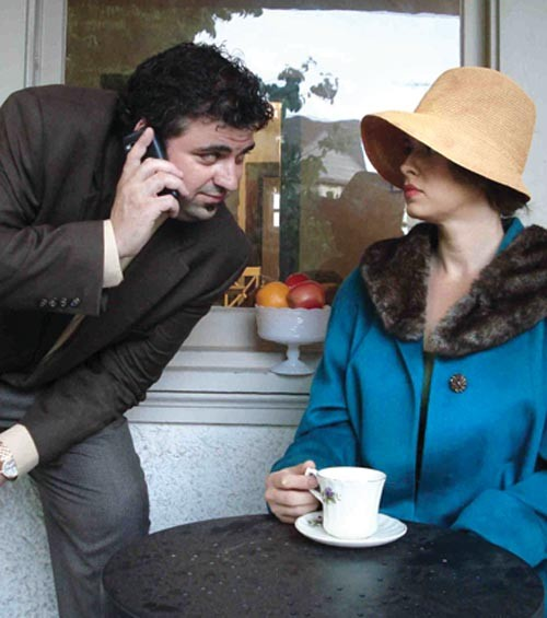 Michael E. Moats and Jaime Slavinsky in Dead Man's Cell Phone, at Organic Theater Pittsburgh - PHOTO COURTESY OF ORGANIC THEATER PITTSBURGH