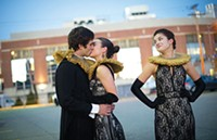 Mike Nicosia, Jennifer Arfsten and Hannah Morris in the Conservatory Theatre Co.'s As You Like It