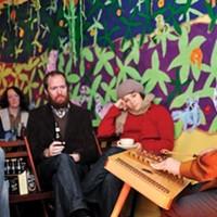 Mike Tamburo plays the dulcimer at Morning Glory Coffeehouse.