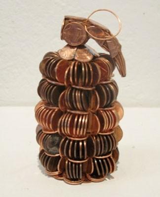 Mishq Laliwala's gleaming hand grenades of precariously stacked pennies.