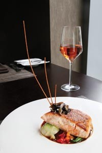 Miso-glazed salmon with baby bok choy, teriyaki sweet peppers and pickled shiitake mushrooms - HEATHER MULL
