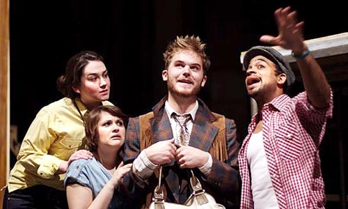 Moira Quigley, Julianne Avolio, Alex Stewart and Martel Manning in Pitt Rep's As You Like It.