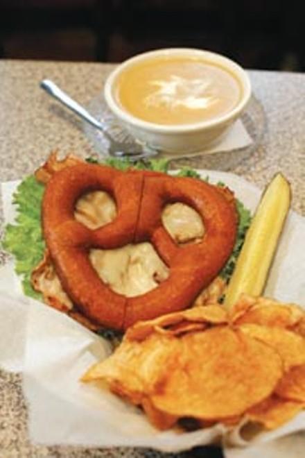 Monkey's Fist pretzel sandwich, with butternut squash bisque - HEATHER MULL
