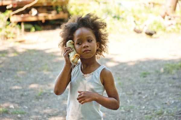 Nature calls: Hushpuppy (Quvenzhané Wallis) listens to a chicken.