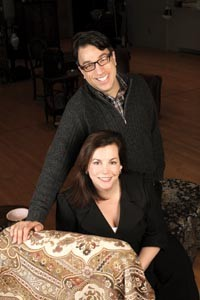 New act: The Public's Ted Pappas and City Theatre's Tracy Brigden on the Public's rehearsal set for The Price - HEATHER MULL