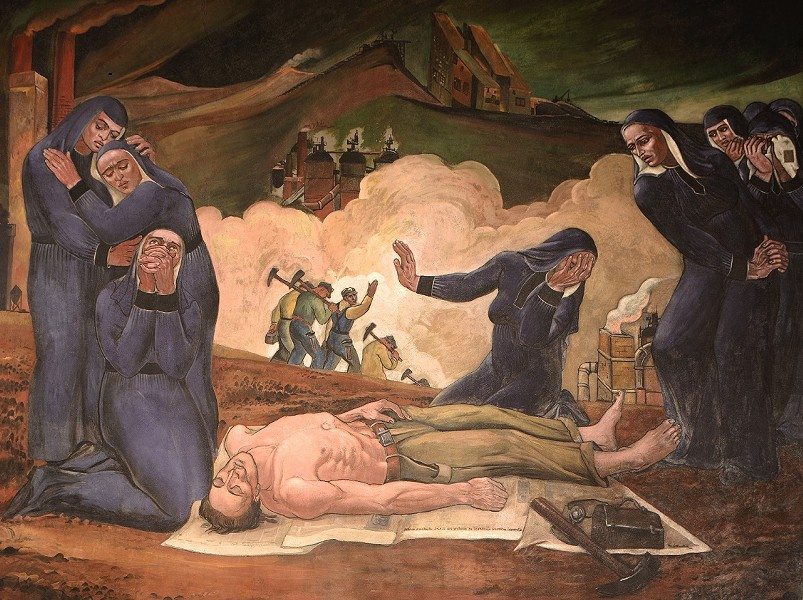 One of Vanka's Millvale murals, depicting women mourning a dead miner. - PHOTOGRAPHY BY ROB LONG/CLEAR STORY CREATIVE.