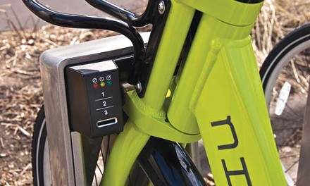 Nice Ride locking mechanism - COURTESY OF NICE RIDE MINNESOTA