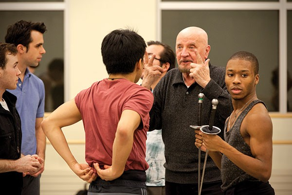 Nicolas Petrov (gesturing) instructs Point Park dance students.