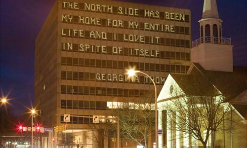 Notes from above ground: Brett Yasko proposes displaying text messages in North Side window grids. Image courtesy of Brett Yasko.