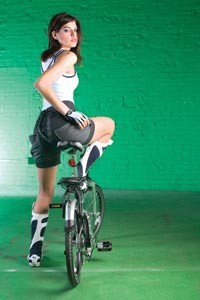 """On Danielle: Ribbed tank and micro-mesh bodysuit, both available at American Apparel. Wool lace-up bike bloomers, available at Built In Pittsburgh. Body Geometry gloves, by Specialized, and """"Halfway"""" folding bike by Giant, both available at Pro Bikes. - HEATHER MULL"""