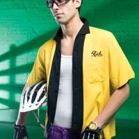 "On James: Vintage bowling shirt, available at Eons. Stretch slim slacks, available at American Apparel. ""Classic"" gloves by Cannondale, carbon-fiber helmet, by S-Works, and ""Zyon"" sunglasses, by Rudy Project, all available at Pro Bikes. Breitling Avenger Seawolf diver's watch, available at Orr's Jewelers."