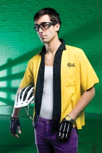 "On James: Vintage bowling shirt, available at Eons. Stretch slim slacks, available at American Apparel. ""Classic"" gloves by Cannondale, carbon-fiber helmet, by S-Works, and ""Zyon"" sunglasses, by Rudy Project, all available at Pro Bikes. Breitling Avenger Seawolf diver's watch, available at Orr's Jewelers. - HEATHER MULL"