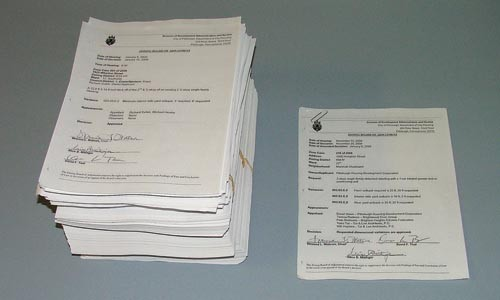 On the left are opinions written by two former members of the zoning board over the past three years. On the right is the only opinion written and signed by chair Wrenna Watson. - CHARLIE DEITCH
