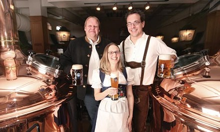Oom-pah-pah: brewmaster Eckhard Kurbjuhn, hostess Tabby Tomer and brewer Ed Slouffman - HEATHER MULL