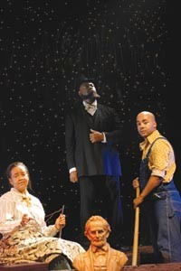 Open Stage's The America Play cast (from left): Rita Gregory, Garbie Dukes and Nathan Jedrzejewski. - HEATHER MULL
