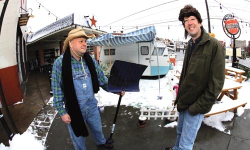 Owners Scott Kramer and Steve Zumoff in front of their trailer at the Double Wide Grill - HEATHER MULL