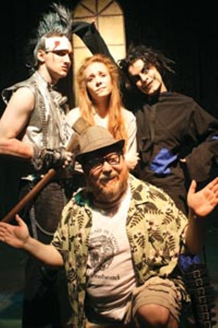 Ozzy: (at rear, from left) Sean Michael Gallaher, Adrienne Fischer, Chucky Hendershot and Joseph A. Roots (front) in Rage of the Stage's Dorothy in Oz - PHOTO COURTESY OF JAMES MICHAEL SHOBERG.