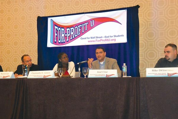Panelists discuss for-profit education at a webinar at the Fairmont Hotel