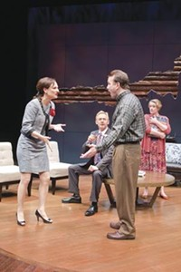 Parental abuse (left to right): Susan Angelo, David Whalen, Ted Koch and Deirdre Madigan in God of Carnage, at Pittsburgh Public Theater.