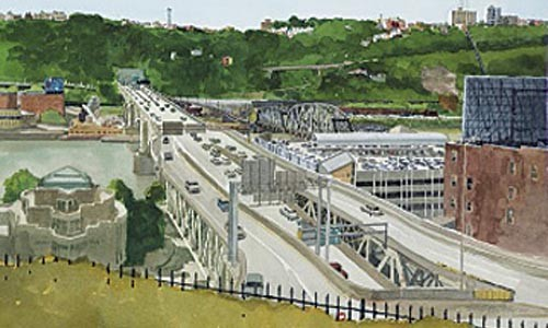 "Paul Bowden's ""Liberty Bridge from Duquesne University"" (2009)."