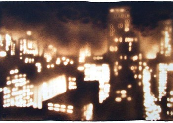 Paul Chojnowski's images are made on wood and paper with a propane torch.