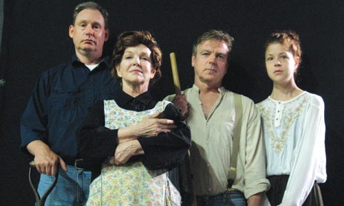 Paul Ford, Dixie Tymitz, Marc Epstein and Karen Baum star in Unseam'd Shakespeare's Out of This Furnace. - PHOTO COURTESY OF JEFF DUGAN.
