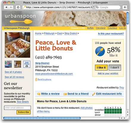 Peace Love & Little Donuts' listing on the Urbanspoon site.