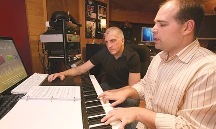 Pelting it out: Bill Medica (left) and JC Carter compose Furry Tales.