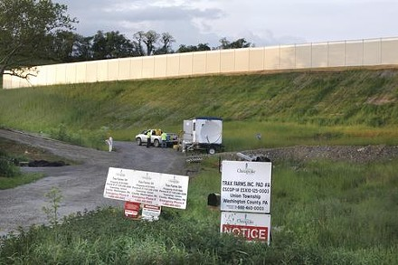 Permits mark an area prepared for fracking at Trax Farms. - HEATHER MULL