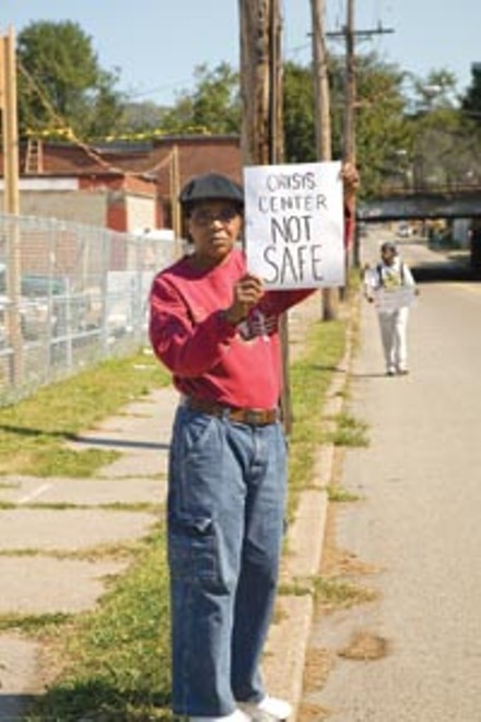 Picketer Don Hall at the proposed site - BRIAN KALDORF