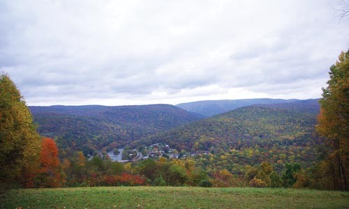 Picnic anyone? The Tharp Knob Overlook's view of the Youghiogheny valley and the borough of Ohiopyle - COURTESY OF OHIOPYLE STATE PARK