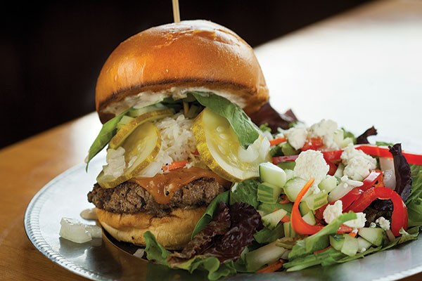 Pitt's Burger with mixed greens